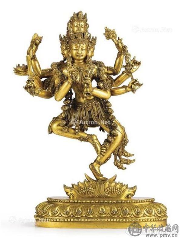 明宣德 鎏金铜四面八臂金刚瑜伽女立像.jpg