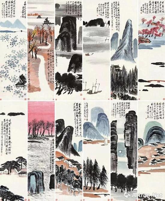 齐白石 《山水十二条屏》 9.315亿元 北京保利拍卖