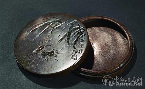 民国齐白石铭蟋蟀纹铜墨盒,上海工美拍卖成交价37.95万元.jpg