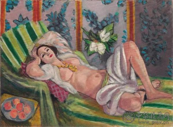 《侧卧的宫娥与玉兰花》   油彩画布   60.5 x 81.1 cm。   1923年作于尼斯   此前估价:50,000,000美元.jpg