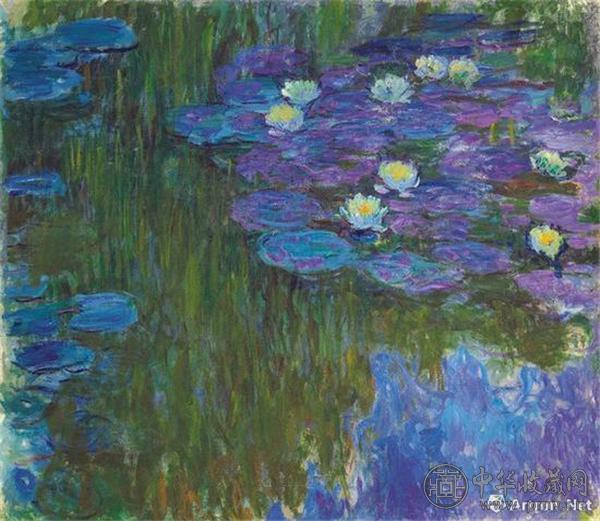 克劳德·莫奈《绽放的睡莲》160.9 x 180.8 公分 约1914至1917年作.jpg
