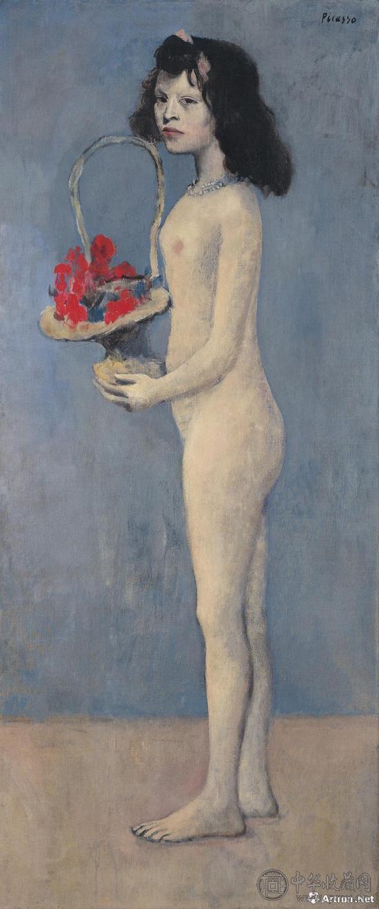 巴布罗·毕加索 《拿着花篮的女孩》.jpg