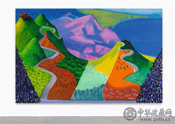 大卫-霍克尼(David Hockney)《太平洋海岸公路与圣塔莫尼卡》.png