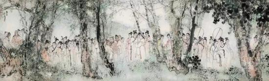 杨善深 丽人行  镜片 设色纸本  1987年作  246×75 cm。  成交价:RMB 7,935,000