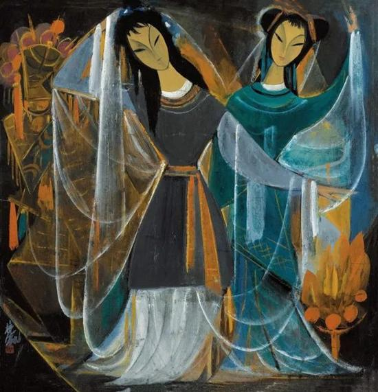 林风眠 戏剧人物   镜框 设色纸本   68×66 cm   成交价:RMB 6,785,000