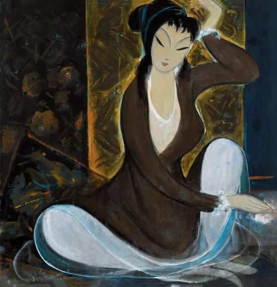 林风眠 仕女  镜框 设色纸本  68×68 cm   成交价:RMB 5,175,000