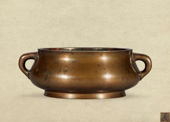 明 铜蚰耳炉   '镜玑堂'款   D:12cm W:1640g   成交价:RMB 1,380,000