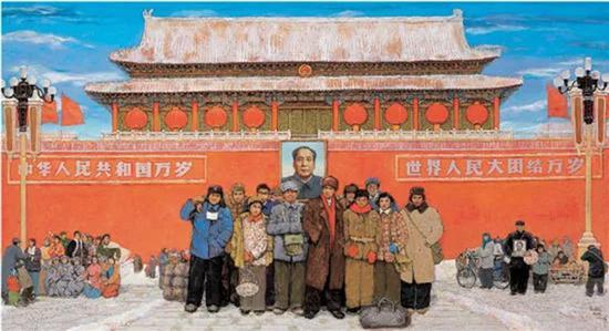 孙滋溪、孙路   天安门前七十年代(附草图)   布面油画   155×285cm 2001   成交价:RMB 5,980,000