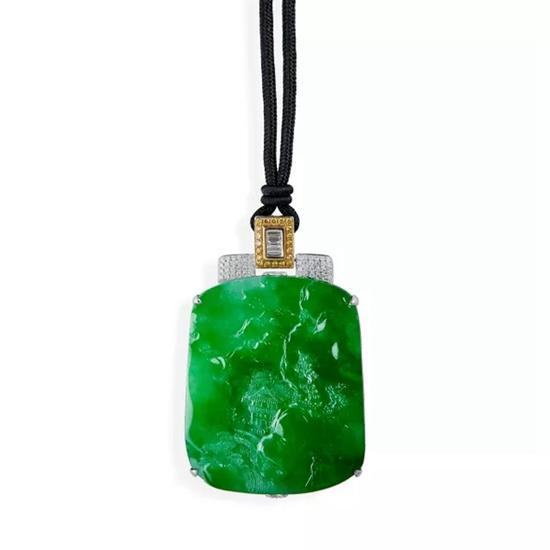Jadeite and Diamond Pendant   天然翡翠'山水'配钻石吊坠   附作者收藏证书   成交价:RMB 2,300,000