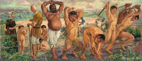 徐悲鸿《愚公移山》1940年 布面 油画 46×107.5cm