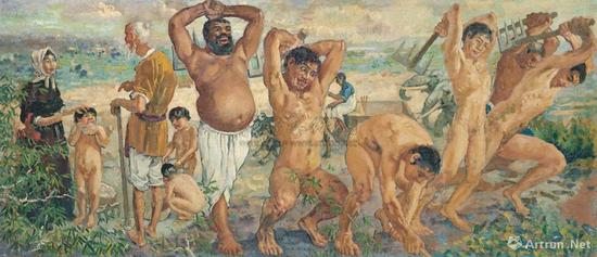 徐悲鸿《愚公移山》布面油画 46x107.5cm 1940
