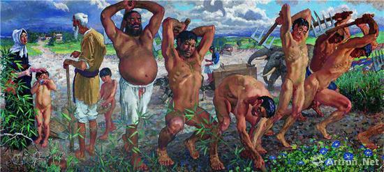 徐悲鸿 《愚公移山》 布面油画 213x462cm 1940 徐悲鸿纪念馆藏