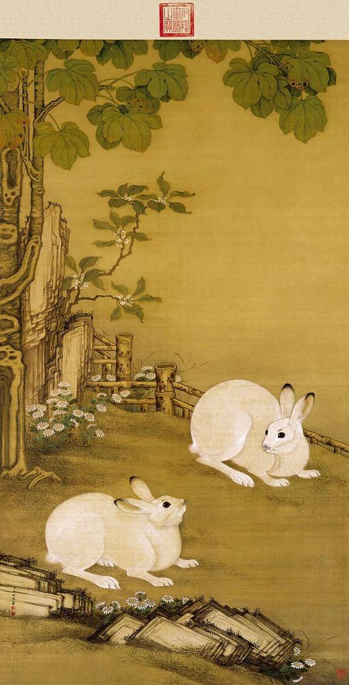 清 冷枚 《梧桐双兔图》故宫博物院藏