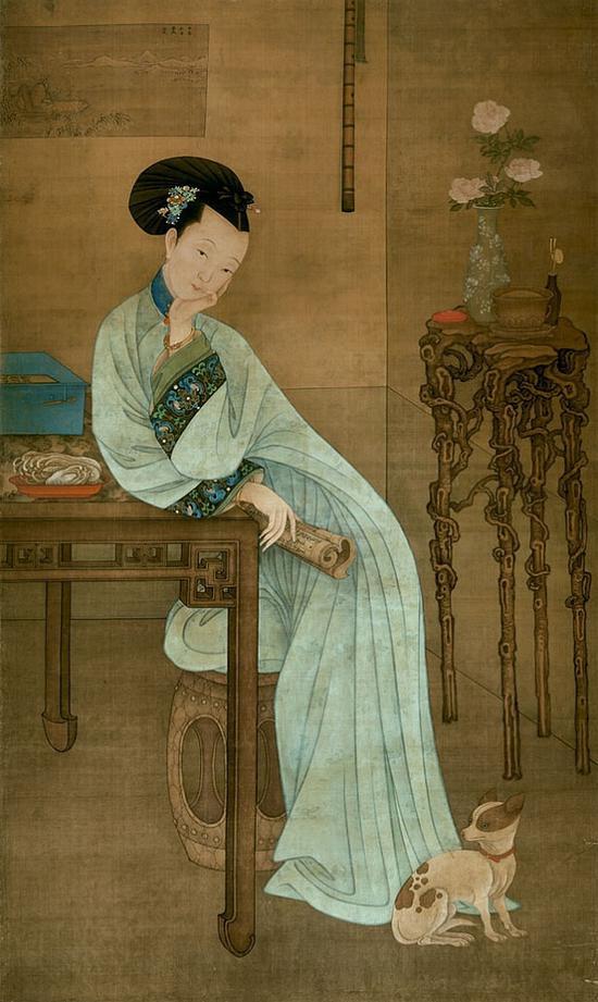 清 冷枚 《春闺倦读图》 天津博物馆藏