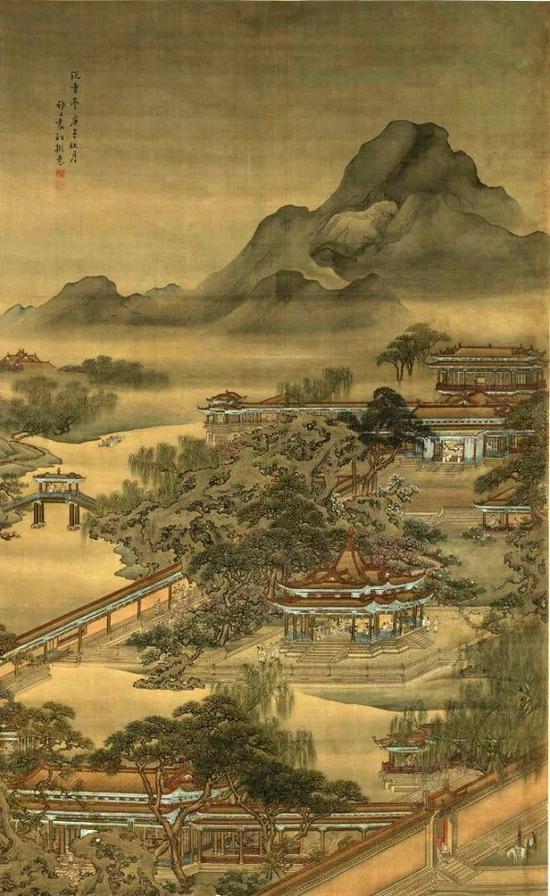 清 袁江《沉香亭图》 天津艺术博物馆藏