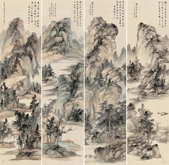 启功 山水四屏 1937年作 设色纸本 242×61.6 cm