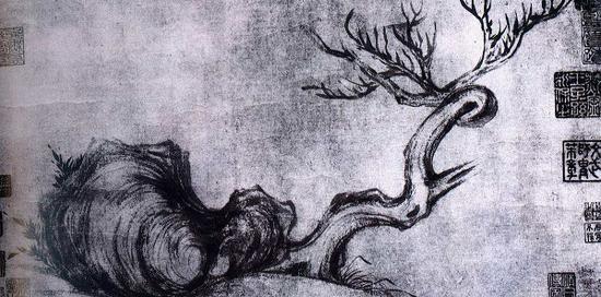 《枯木怪石图》黑白资料图片