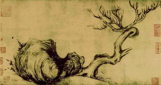 被认为是东坡画作的《枯木怪石》