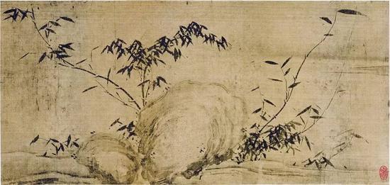 《潇湘竹石图》局部