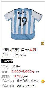 梅西的签名球衣去年拍出了1.38万元。网站截图
