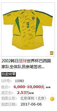 拍出2.53万元的球衣。网站截图