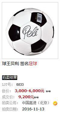 贝利签名的足球也曾亮相拍场。网站截图