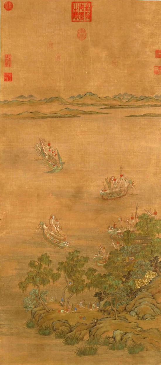元 郑重《龙舟竞渡图》 台北故宫博物院藏