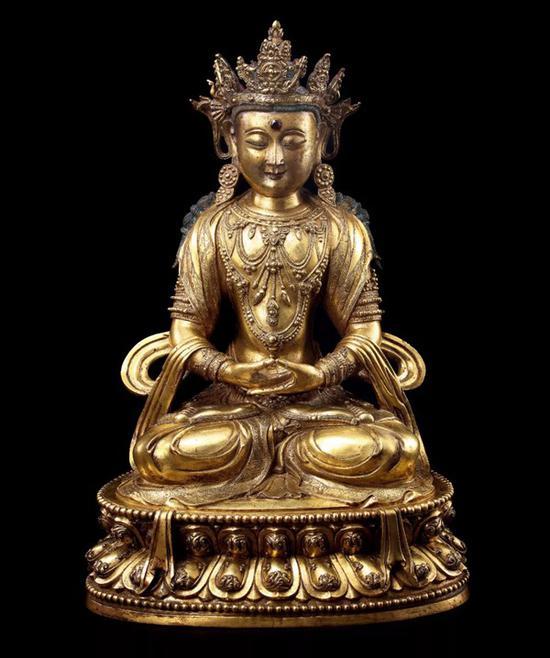 铜鎏金嵌宝 无量寿佛   十五世紀 汉藏宫廷   H 50cm