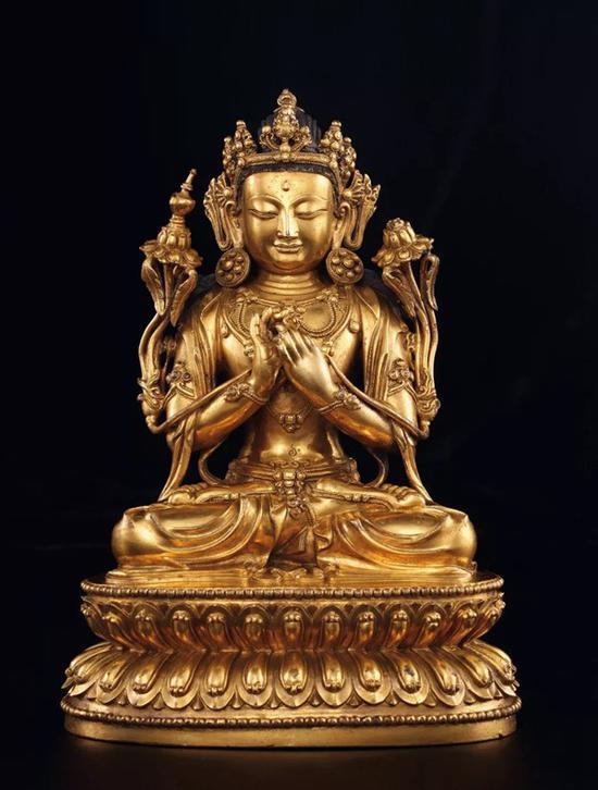 明永乐 铜鎏金弥勒菩萨   H 20.8cm   款识:大明永乐年施