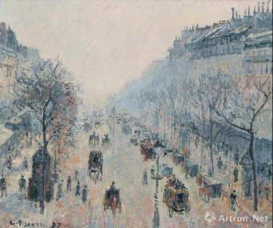 卡米耶·毕沙罗(Camille Pissarro) 《蒙马特大道,晨雾》