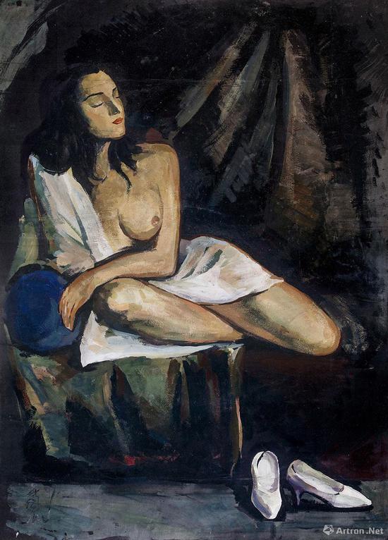 No.6常玉《双裸女、盘腿裸女(双面画)》1940年代 墨、油彩纤维板 57×68cm