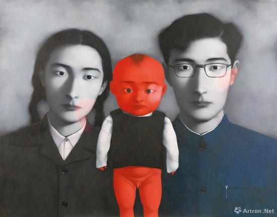 张晓刚《血缘:大家庭1号》149×189.5cm 布面油画 1996年 成交价:4025万元