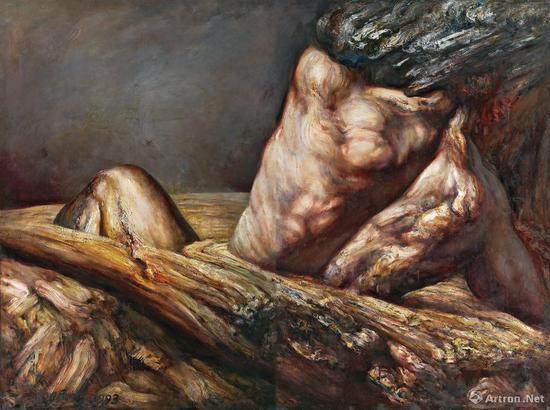 丁方 《悲剧的力量之八(双联画)》布面 油画 193.5×130cm×2 1993年 成交价:345万元