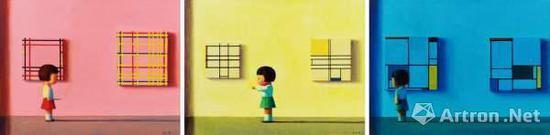 刘野《红黄蓝》(一组3件)布面丙烯 300×220cm 2002年作 成交价:1150万元