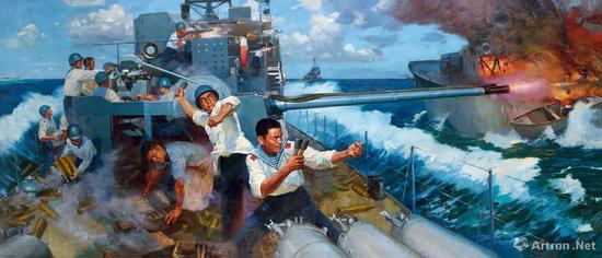 艾民有、吕恩谊《西沙自卫反击战》180×419cm 布面油画 1974年 成交价:552万元