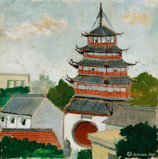 庞薰琹《文峰塔》布面油画 80×80cm 1979年 成交价:1782.5万元