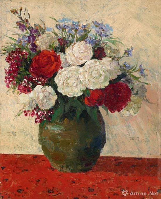 宋步云《月季花开》布面 油画 66×54cm 1950年 成交价:207万元