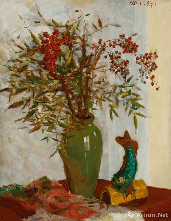 吕斯百《天竹》布面 油画 70×53.5cm 1961年 成交价:218.5万元