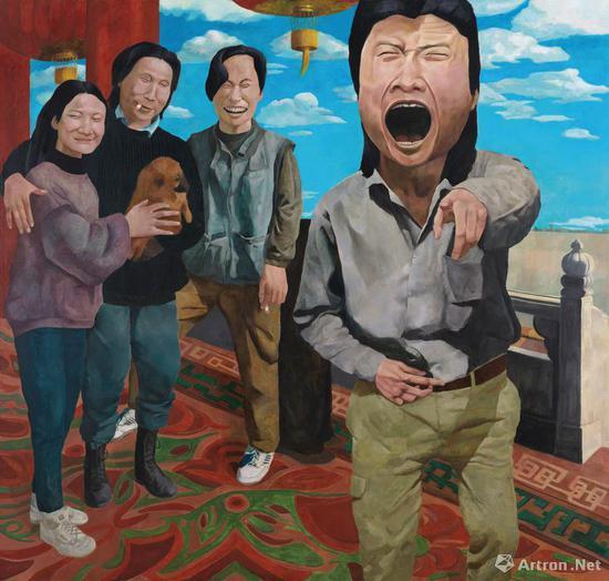 岳敏君《时代戏剧》布面油画 191×200cm 1992 成交价:1610万元