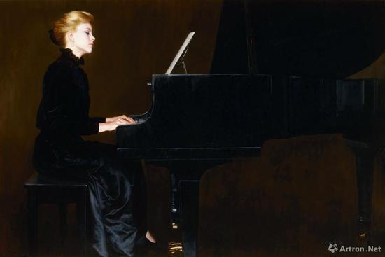 陈逸飞《夜莺之声》布面油画 130×202cm 1980 成交价:2070万元