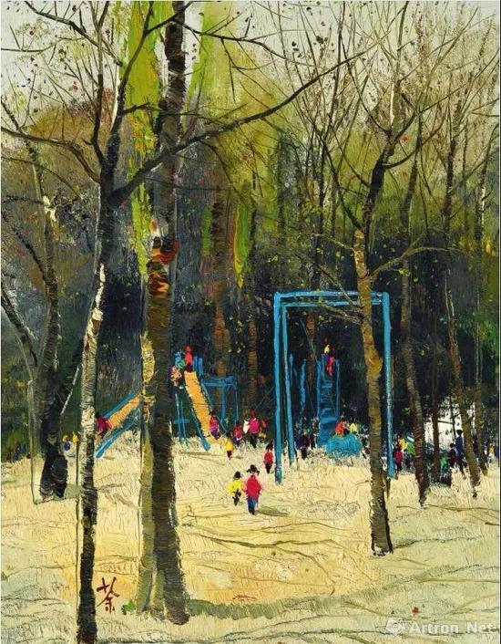 吴冠中《紫竹院儿童游乐园》布面油画 1973年