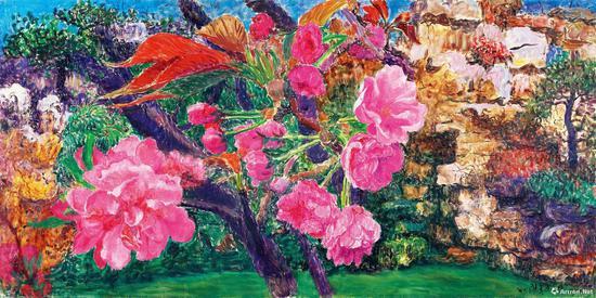 周春芽《晚樱与桃花》布面油画 2015年
