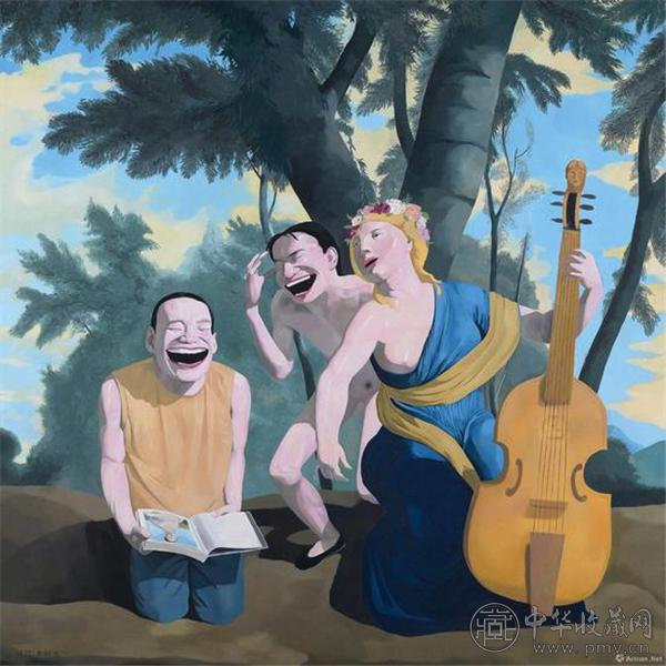 岳敏君《音乐》1995年作 布面油画 140×140cm.jpg