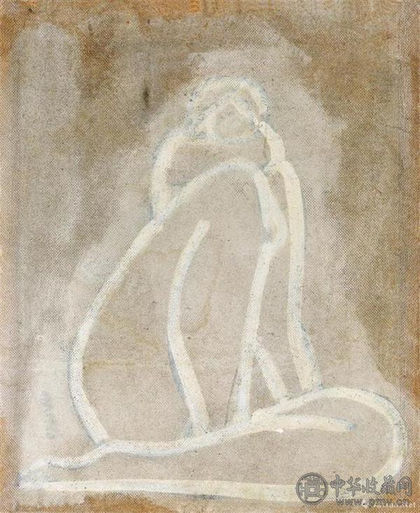作品背面绘有另一裸女画,《盘踞裸女》之草图.jpg