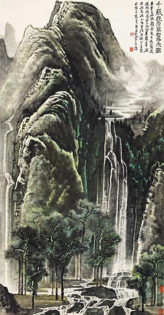 李可染 千岩竞秀万壑争流图 立轴 设色纸本 180×97 cm 成交价:RMB 126,500,000