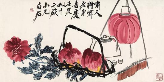齐白石 满堂吉庆图镜心 设色纸本67.5×132.5 cm成交价:RMB 40,250,000