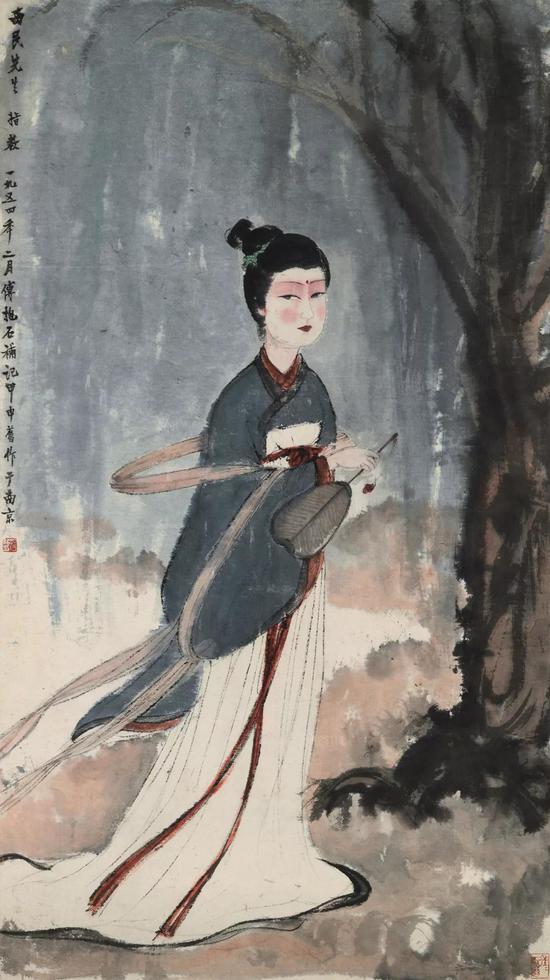 傅抱石 游春 镜心 设色纸本 114×58 cm 成交价:RMB 25,300,000
