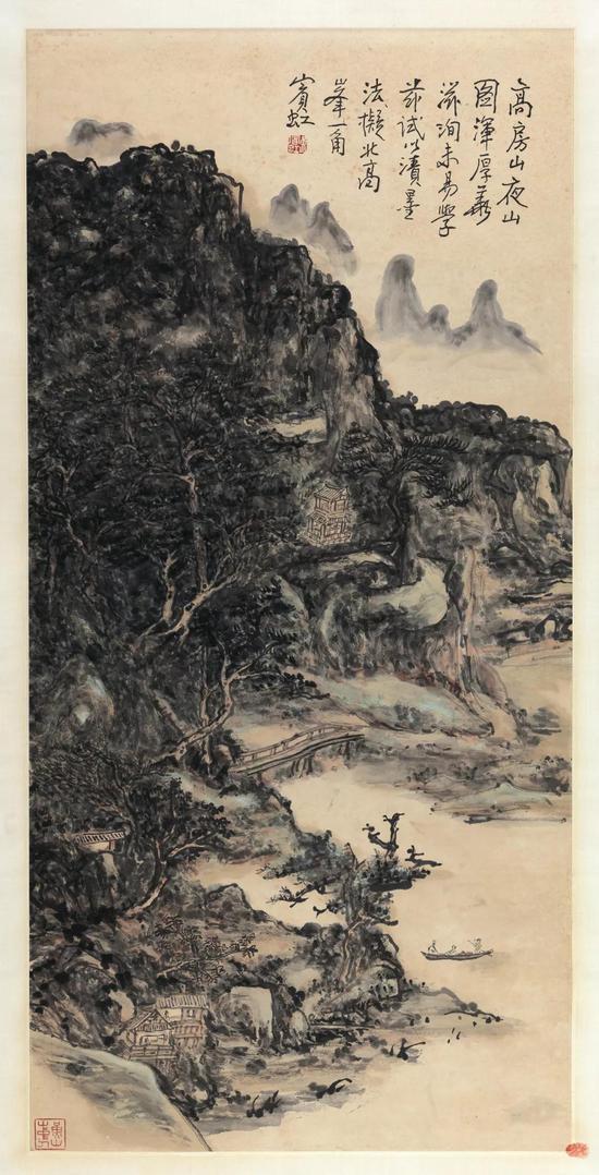 黄宾虹 北高峰一角 立轴 设色纸本 100.5×49 cm 成交价:RMB 18,400,000