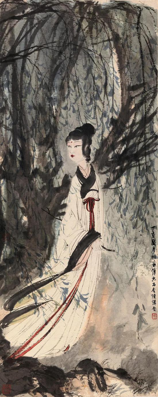 傅抱石 柳荫仕女 镜心 设色纸本 105.5×42 cm 成交价:RMB 17,825,000