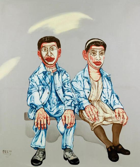 曾梵志 面具系列第十七号  1994年  布面 油画  178.5×149.5 cm  成交价:RMB 13,800,000